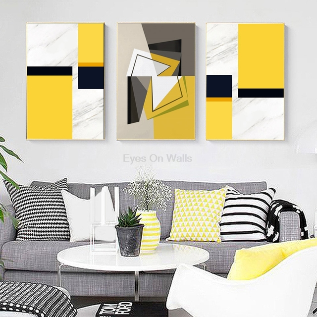 No Frame Abstract Geometric Poster Scandinavian Canvas Painting For ...