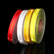 Фотография 25MMX3M RED White YELLOW Micro Prismatic Sheeting Reflective Tape Stickers bike reflector stickers Bicycle light reflectors tape