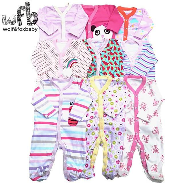 Retail 3 stks/partij 0 12months lange Mouwen Baby Baby cartoon footies body voor jongens meisjes jumpsuits pasgeboren kleding