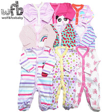 Retail 3pcs/lot 0 12months long Sleeved Baby Infant cartoon footies bodysuits for boys girls jumpsuits Clothing newborn clothes