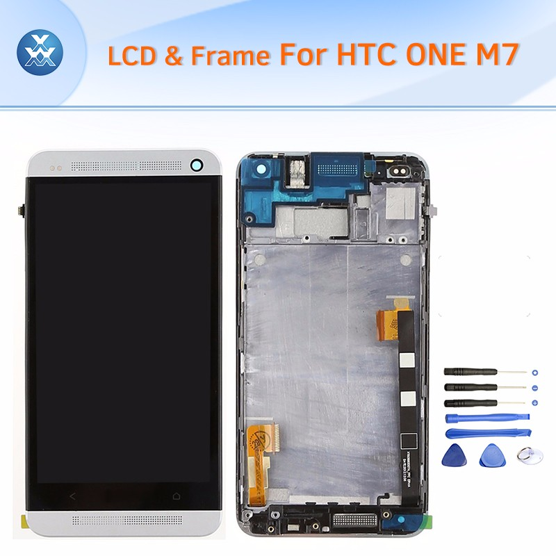 HTC One M7 LCD & Digitizer Assembly with Frame - Sliver