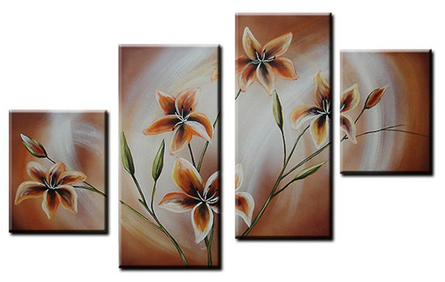 Ordinaire 4 Panel Pictures Modern Wall Art Acrylic Floral Paintings For Sale  Hand Painted Abstract Orange