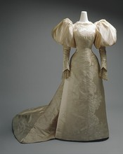 1896 French Silk Victorian Dress Historical Princess Dress
