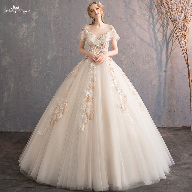 Rsw547 Floor Length Short Ruffled Sleeves Ball Gown Champagne