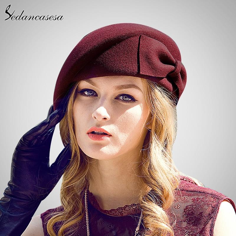 036e50121a4d7 Sedancasesa Australian Wool Felt Beret Hat Women British French Lady Artist  Flat Cap Bow Boina Feminino