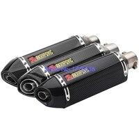 Universal Motorcycle Akrapovic Exhaust Muffler DB Killer ID:51mm L:370mm Carbon Fiber Color Motorbike Muffler Exhaust Escape