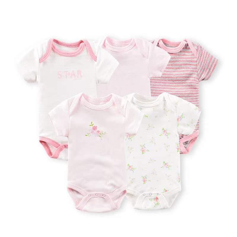 0-12 м детская одежда для девочки Детские с коротким рукавом узел 5 шт./лот Младенческая Девочка одежда новорожденный боди Детский комбинезон ...