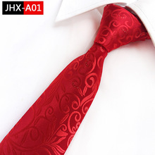 2018 New Red Paisley Ties Silver Point Ornament Mens Trendy 8CM  Wedding Office Neckties
