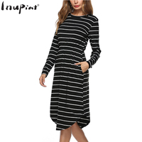 INUPIAT Casual Style Dress for Woman 2017 New Stripped Dresses O-Neck Full Sleeve Pockets Autumn Vestidos for Female Mujer