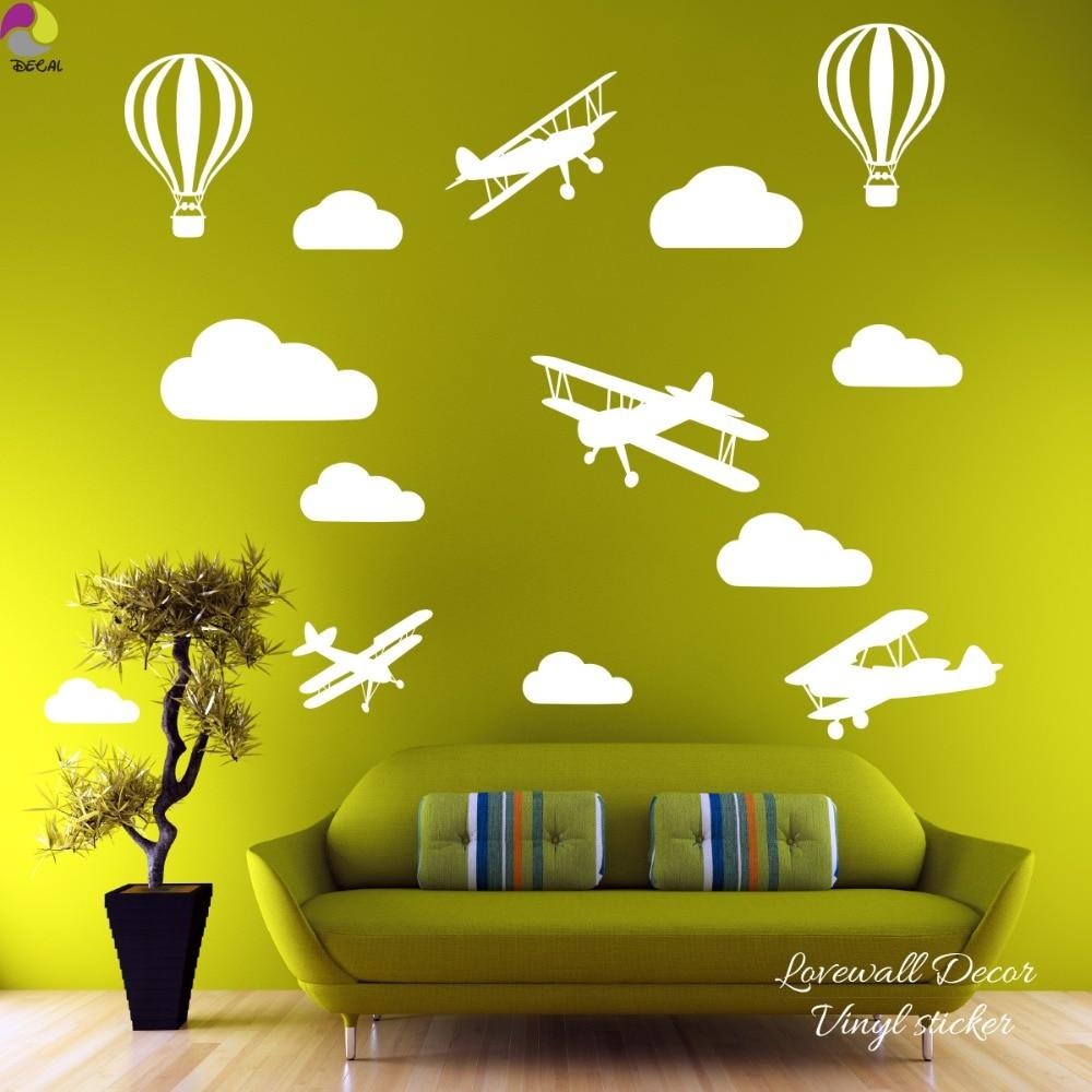 Cartoon Airplane Cloud Wall Sticker Baby Nursery Bedroom Plane ...