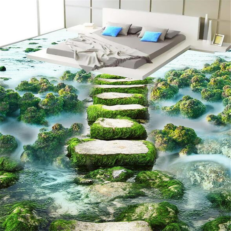 Modern bathroom Custom 3D floor mural wal lpaper wear non-slip waterproof thickened self-adhesive PVC floor painting color beibehang modern bathroom kitchen custom 3d floor mural wallpaper wear non slip waterproof thickened self adhesive 3d pvc floor