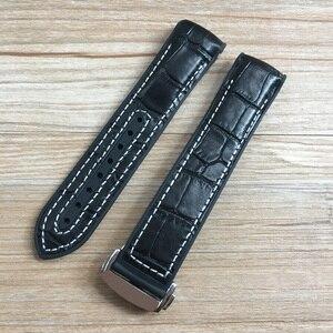 Image 4 - 20mm 22mm Dark Blue Black Brown Rubber With Leather Watch Band Strap For OMEGA Planet Ocean Seamaster 300 Speedmaster Bracelet