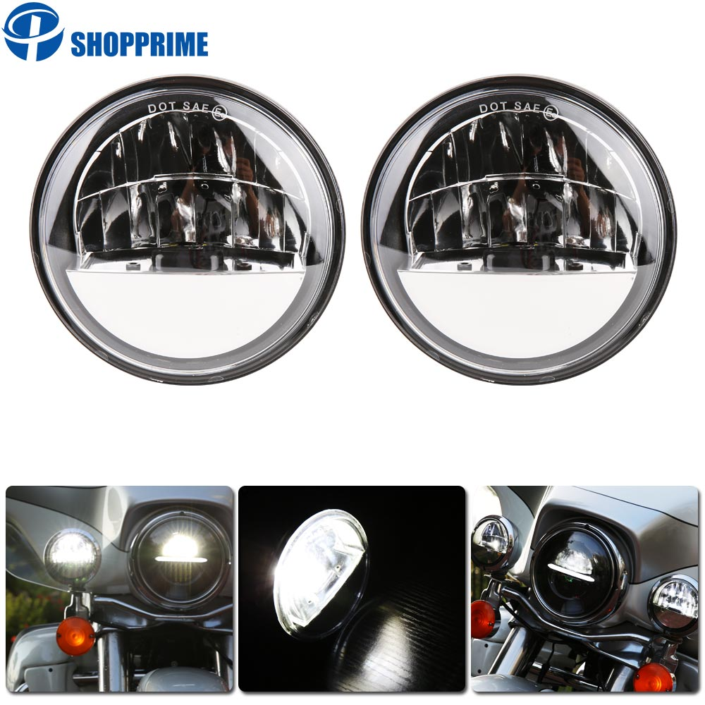 Dot approved 2 PCS Chrome 4.5 Inch LED Passing Light LED Fog Lamps for Motorcycle Auxiliary Light Bulb