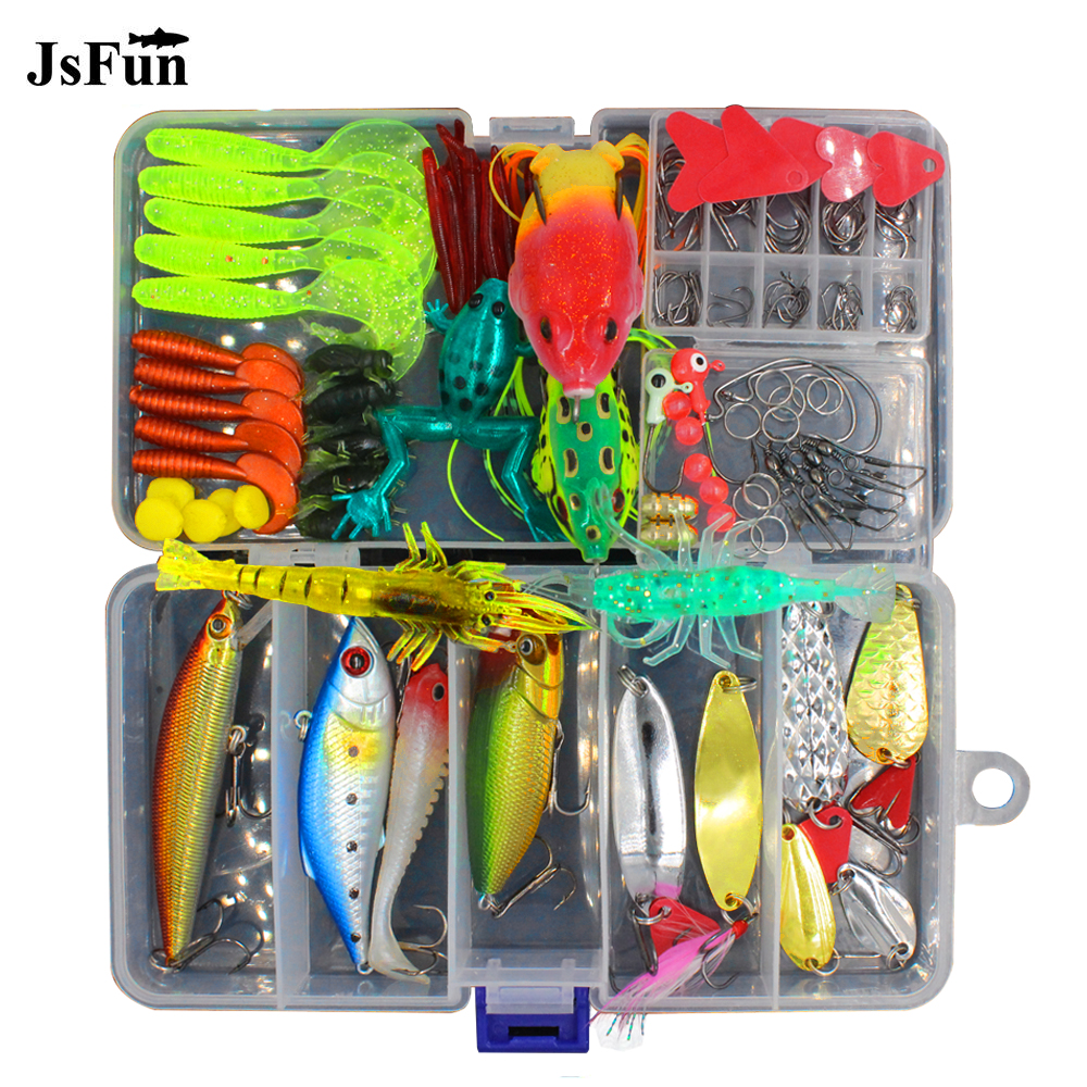 JSFUN 147pcs/lot Lure kit Rattlin Minnow Popper Frog bait Spoon Silicone baits Fishing Tackle Accessories fishing lure Set FU348 goture 96pcs fishing lure kit minnow popper spinner jig heads offset worms hook swivels metal spoon with fishing tackle box