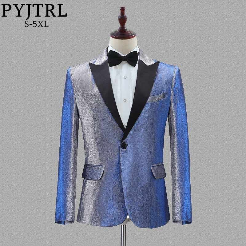 PYJTRL New Mens Change Colour Blue Gold Purple Red Slim Fit Blazer Wedding Groom Prom Party  Casual Suit Jacket Singers Costume