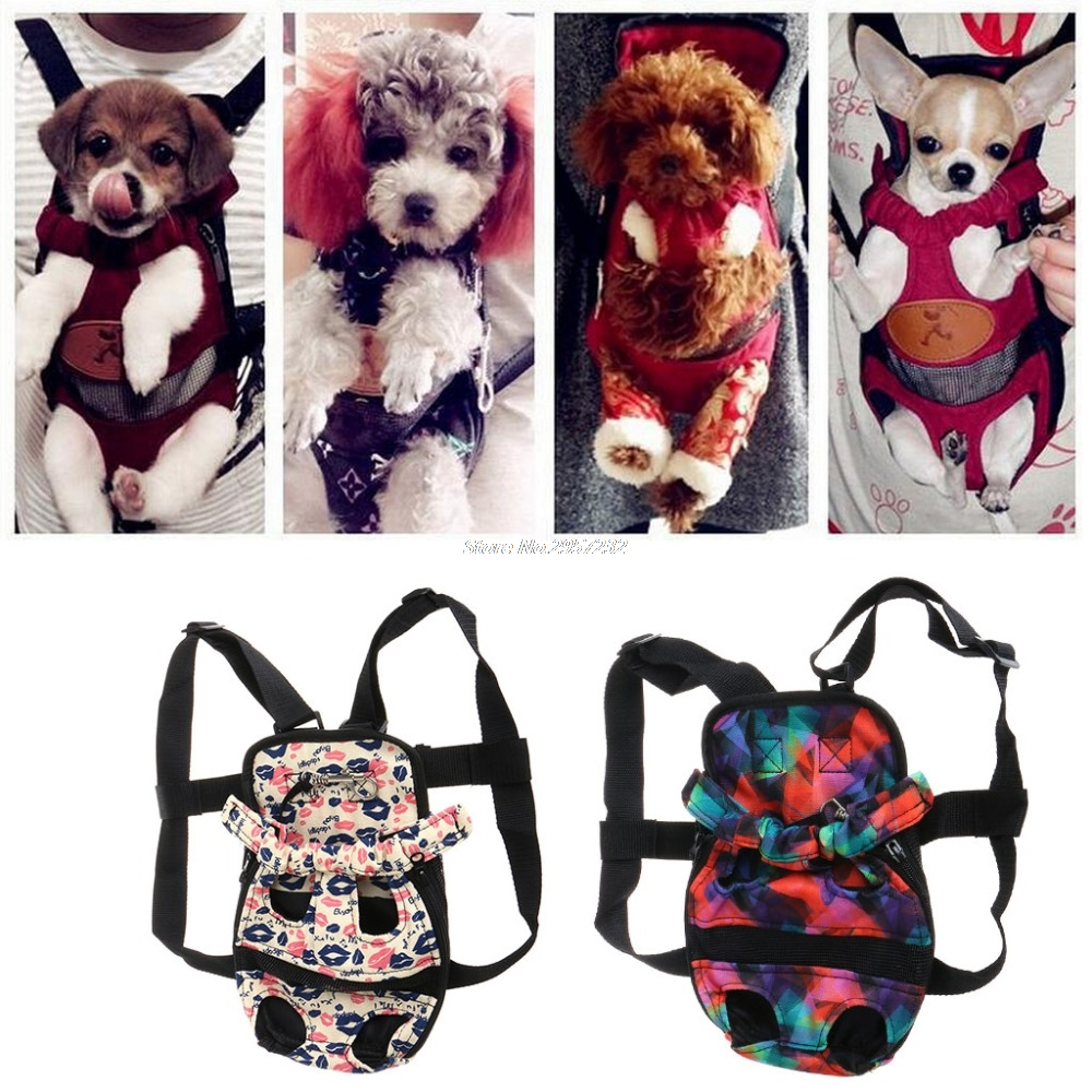 Pet Dog Backpack Carrier Puppy Pouch Dog Front Bag Back Pack Legs Out yy56