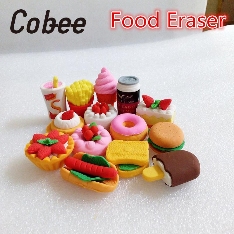 4PCS/Bag Caryoon Food Shape Eraser Rubber Pencil Eraser Set School Stationery Children Party Supplies Kids Gifts Toy
