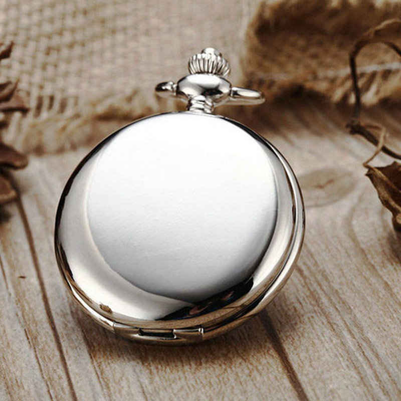 Retro Silver Quartz Pocket Watch With Necklace Chain Fashion Black Smooth Steampunk Fob Watches For Men Women Reloj De Bolsillo