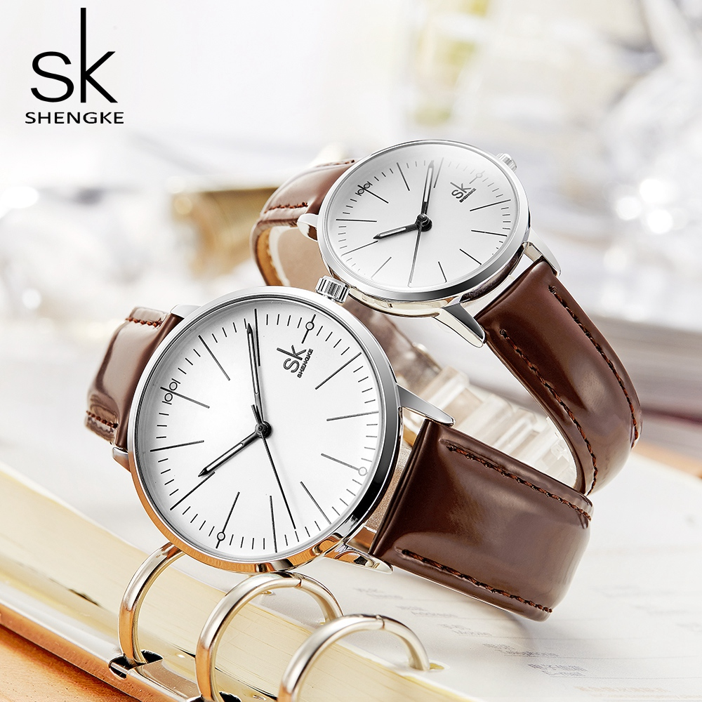 Shengke Reloj hombres mujeres relojes cuarzo Simple Reloj de alta calidad Relogio Masculino negocios Reloj Unisex amante Reloj Saat