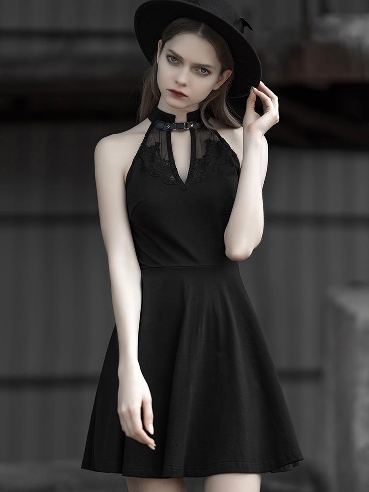Punk Rave femmes romantique Goth haltercou Slim ajusté robe noire PQ563LQ asie taille (S-L)