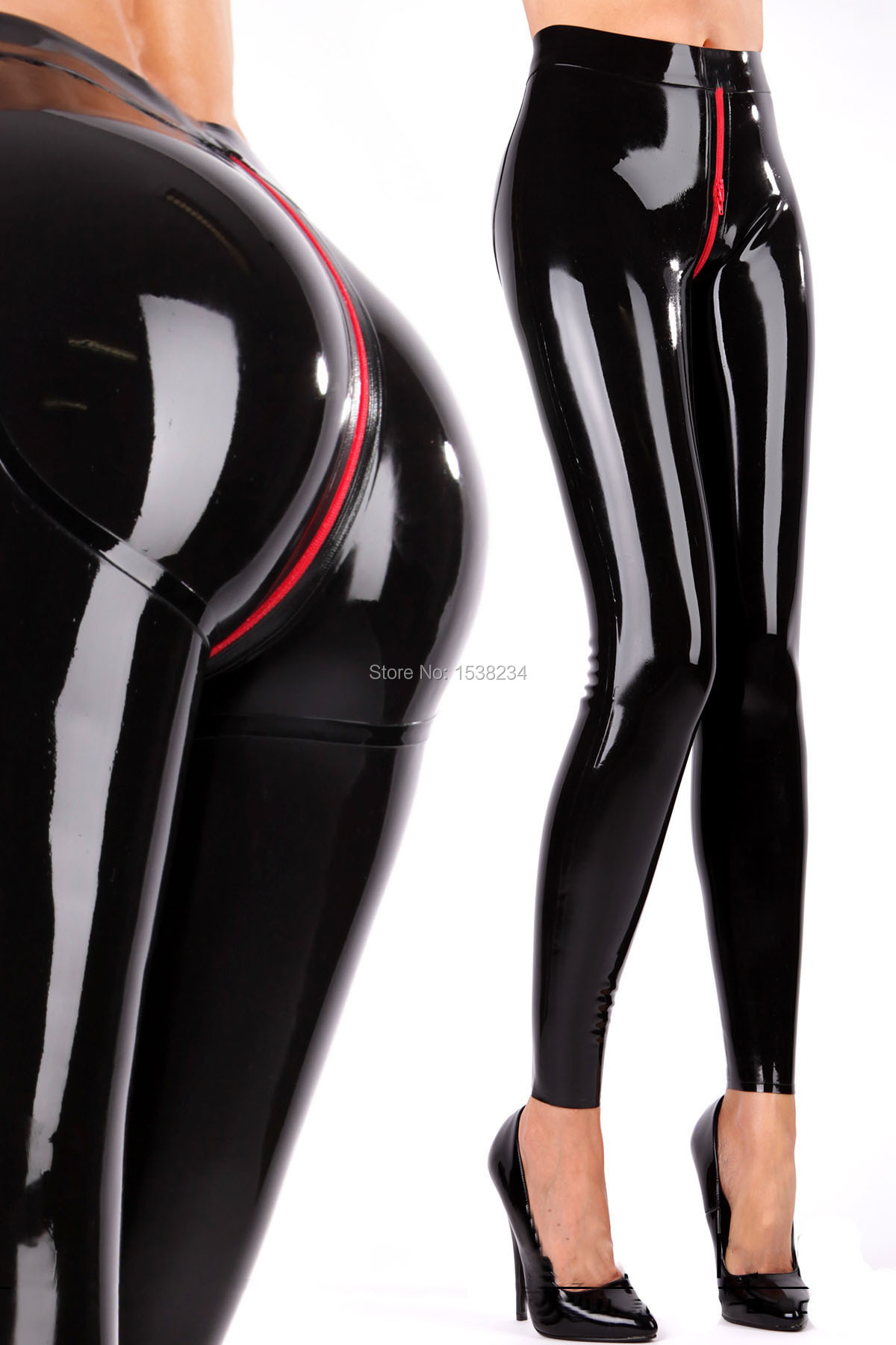 Latex Leggings 3D Hips Cut Crotch Zip Latex Women Skinny TROUSERS