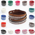 Fashion bracelet long leather bracelet  Europe and the United States rhinestone bracelet multi-layer braided bracelet free shipp