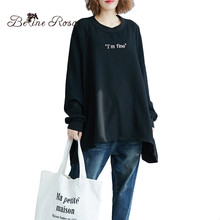 BelineRosa 4XL 5XL 6XL Oversized Plus Size Women Clothing Autumn Casual Black Loose Fashion Women Pullovers in Big Size 72B00017(China)