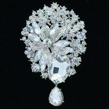 Rhinestone Crystal Wedding Bridal Flower Dangle Brooch Broach Hat Pin Jewelry 3.9″ 6022