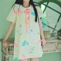 Fashion Women Casual Summer Mori Girl Cartoon Mamegoma Seal Print Sailor Collar Shirt Dress For Women Femininos Vestidos