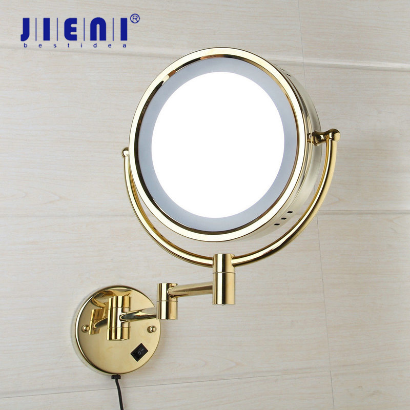 JIENI 3X Magnifying LED Light Beauty Makeup Mirror 8 Inch Wall Mounted Bathroom Toilet Cosmetic Mirror