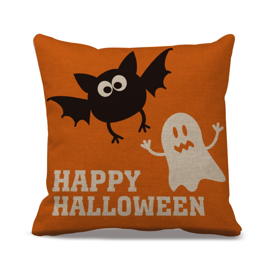 happy halloween pillow cases custom linen burlap cushion cover bat