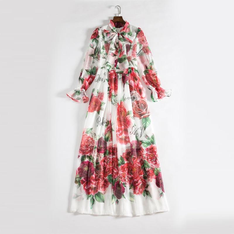 Vestiti Lungo Elegante Vacanza Collare Arco Vestito Pavimento 2018 Mare Del Maxi lunghezza Di Fiore Delle Stampa Dei Al Boho Donne OnBqHXYw