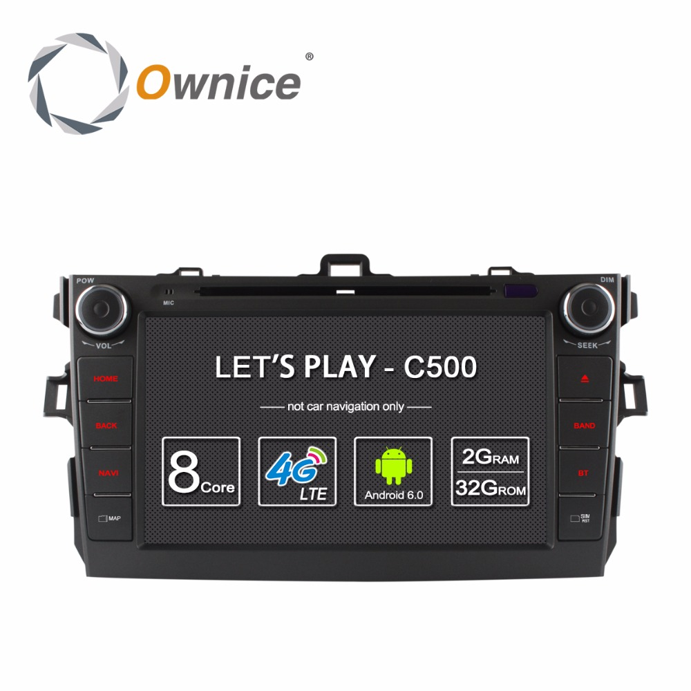 Ownice C500 8 Android 6.0 4 Core 2G RAM car dvd player for Toyota corolla 2007 - 2011 in dash 2 din gps navi 4G LTE Network