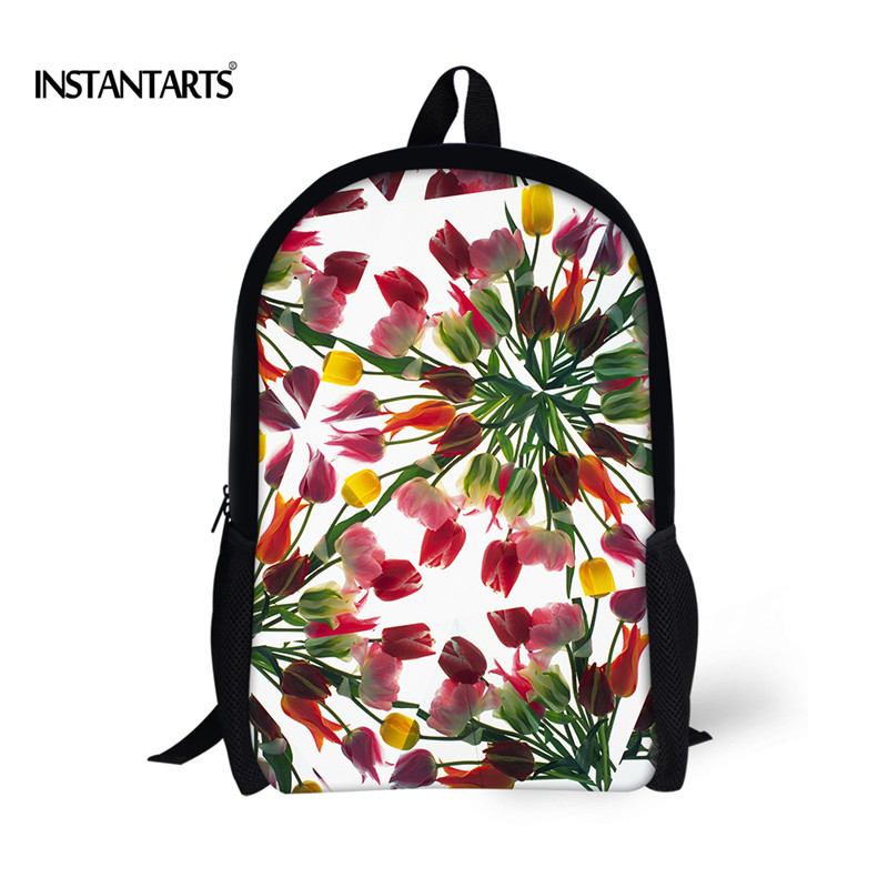 INSTANTARTS 2018 Newest Women School Bags Fashion Floral Printed Bookbags for Ladies Casual Teens Girls School Bag Kids Mochilas