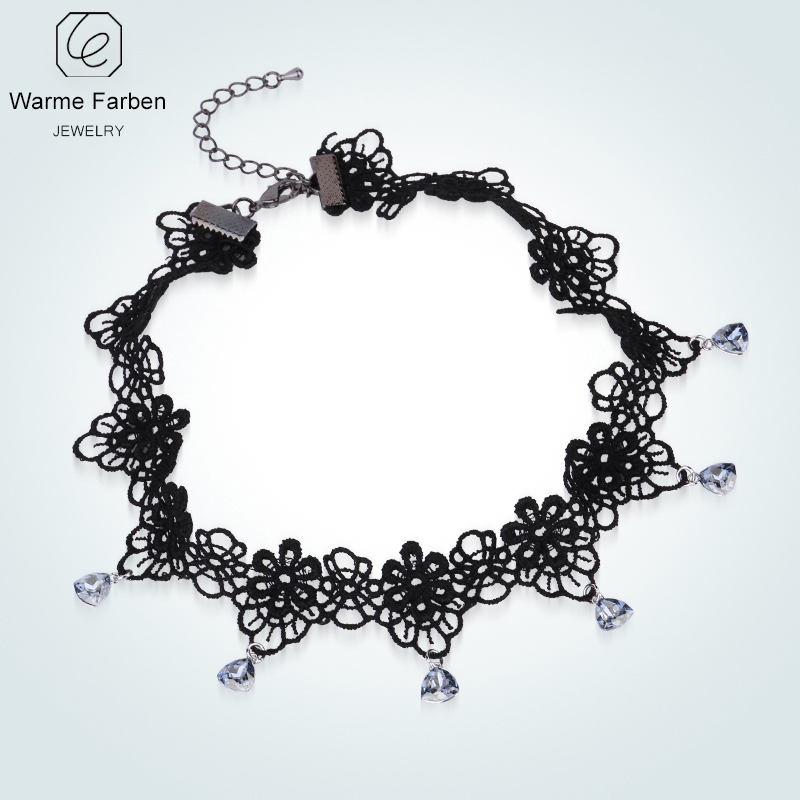 Aliexpress.com   Buy WARME FARBEN Crystal from Swarovski Women Choker  Necklace Baroque Black Lace Chain Tassel Water Drop Pendant Lady Collares  from ... f66d5b40dab1