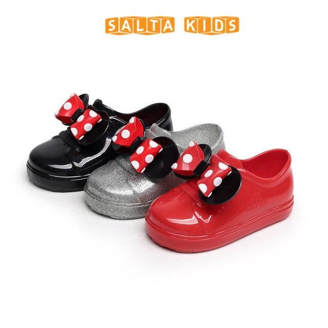 Девушка Спортивная обувь для маленьких детей дождь Сапоги и ботинки для девочек с бантом дети дождь Обувь лук Водонепроницаемый ребенок резиновые Сапоги и ботинки для девочек прозрачные мягкие детские Обувь ed26