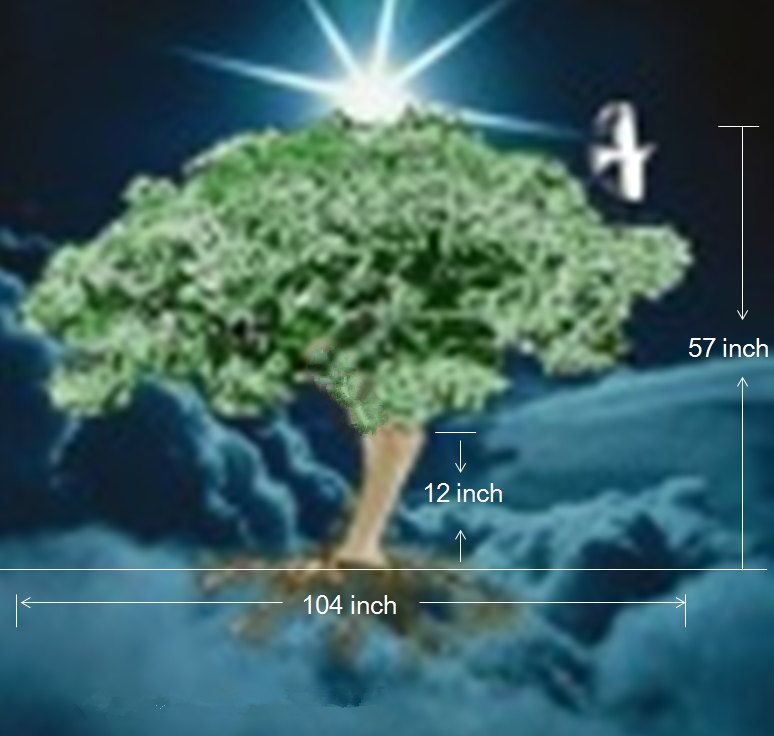 Design cost of 3D illustration Lote tree green leaves Height 1.4 meters Rotatable