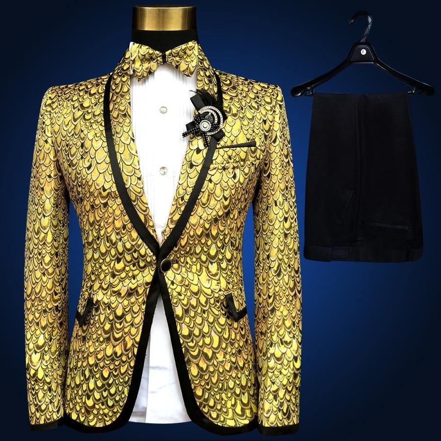 Plyesxale Men Suits For Wedding 2018 Luxury Brand Black Gold Tuxedo ...