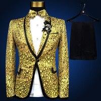 NEUE Marke Mode Männer Anzüge Gold Silber Gelb Blazer Dünne Hochzeit Anzug Männlich Bräutigam Twinkle Bühne Sängerin Prom Smoking Jacke + hosen