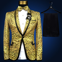 NEW Brand Men Suits Gold Silver Yellow Blazers Slim Wedding Suit Male Groom Twinkle Stage Singer Prom Tuxedo Jacket+Pants+Bowtie