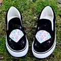 Primavera Harajuku Zapatos de Lona de Diamantes Mujer Mujeres Zapatos de Graffiti Zapatos Pintados a Mano Personalizados Zapatos Casuales Zapatos de Mujer Vestido