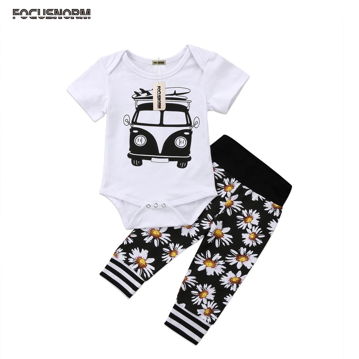 2018 Cute Newborn Baby Boys Girls Top Short Sleeve Car Print Romper Floral Long Pants Outfits Set Sunflower 2pcs Clothes