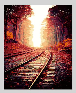 Hot Selling Autumn Leaves Railway Printed DIY Digital Oil Painting By Numbers Hand Painted Oil Painting 40x50cm No Frame