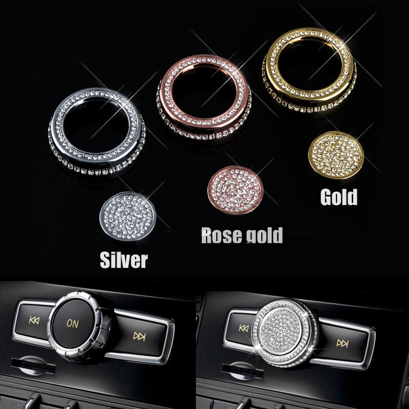Car CD Sticker Panel Bumper Sound knob diamond Stickers for Mercedes Benz C E Class GLA  ...