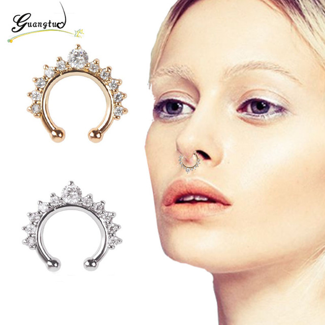 1pcs Punk Gothic Style Crystal Nose Ring Hoop For Women Clip Hoop