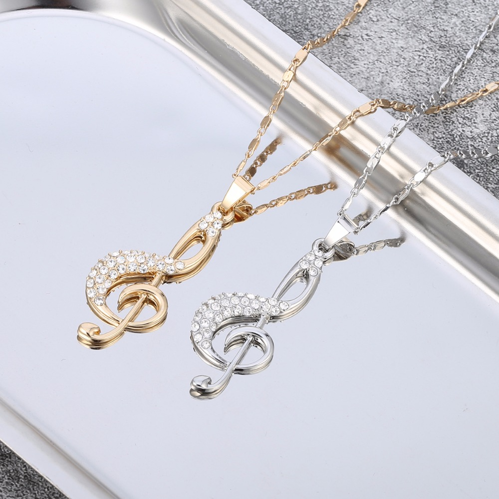 Crystal Music Jewelry Set Pendant Necklace Music and Earrings 6255