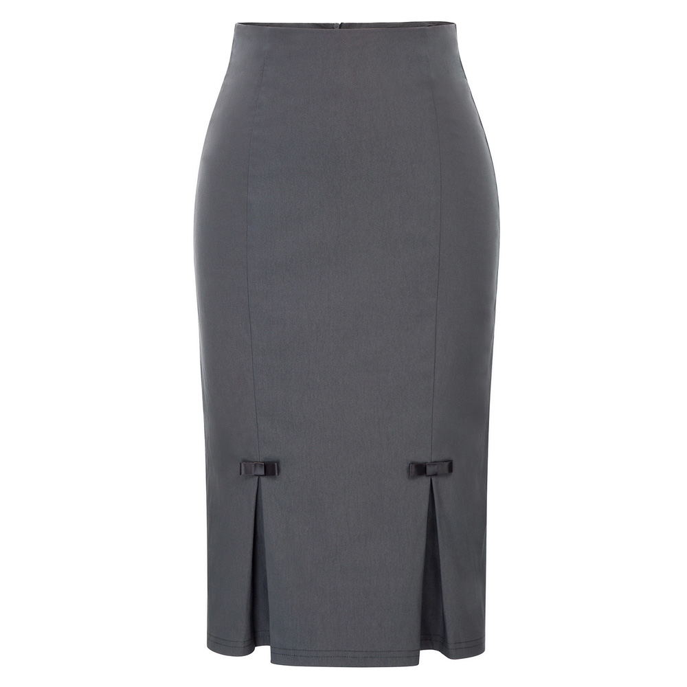 OL Women Pencil Skirt Vintage Retro Bow-Knot Split Solid Hips-Wrapped Bodycon Knee Length Skirts Fall Business Office Work Skirt