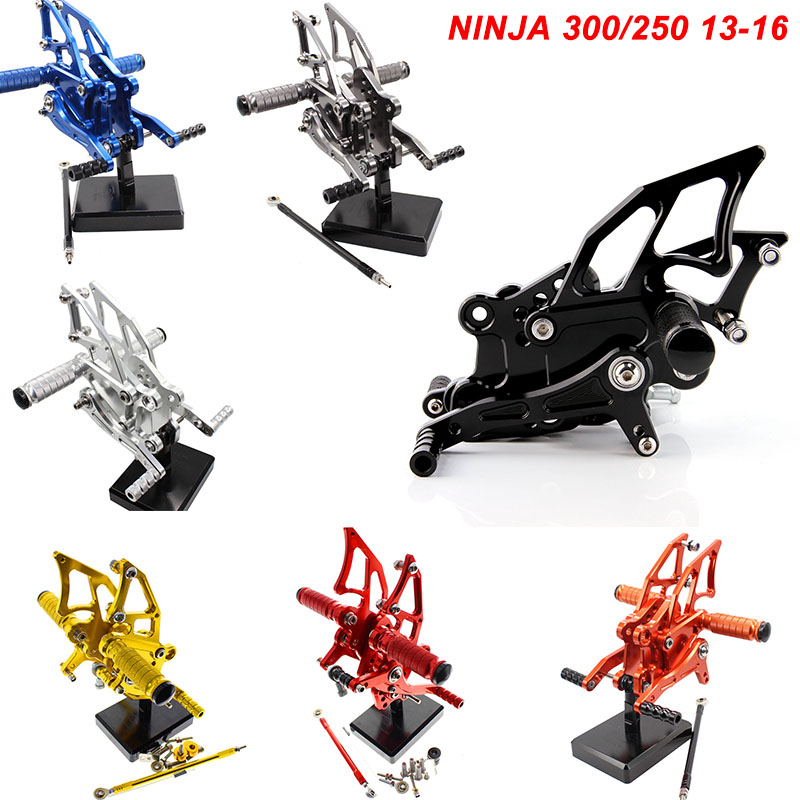 For 13 16 Kawasaki Ninja 300 250 EX300 CNC Aluminum Adjustable Rear Set Foot Pegs Pedal