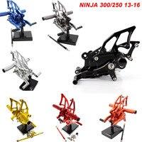 For 13 16 Kawasaki Ninja 300 250 EX300 CNC Aluminum Adjustable Rear Set Foot Pegs Pedal Footrest Rearset 2013 2014 2015 2016