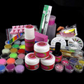 Full 30 Acrylic Powder Liquid False Nail Glitter Sheets Nail Art Rhinestones Nail Brush Pen Cuticle Oil Kits N003 Set